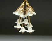Vintage Victorian Style Bead Dangles White Lucite Flowers Pair C250