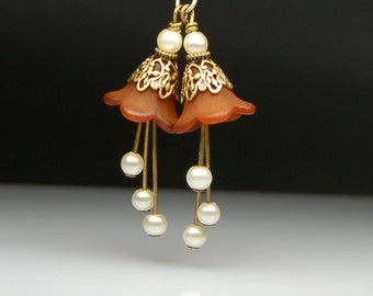 Bead Dangles Brown Lucite Flowers Cream Glass Pearls Pair BR110