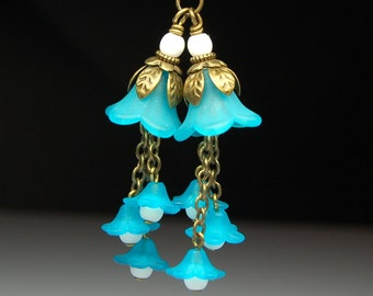 Vintage Style Bead Dangles Turquoise Blue Lucite Flowers Pair BL224