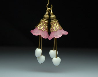 Vintage Style Bead Dangles Pink Lucite Flowers Pair PK147