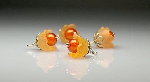 Bead Dangles Vintage Style Orange Lucite Flowers Set O858