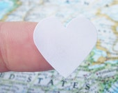 48 White Heart Stickers - Envelope Seals