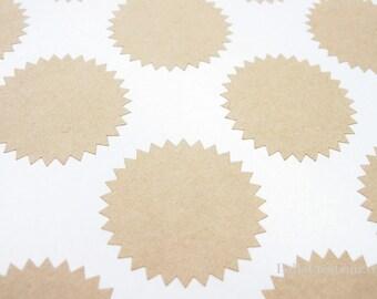 Kraft Starburst Stickers - Envelope Seals