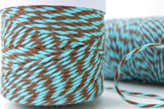 Aqua and Brown Bakers Twine by Timeless Twine - Aqua Delight