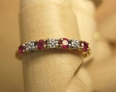reserved vintage Ruby & Diamond Ring 4 rubies 3 diamonds in Gold setting
