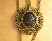 ANtique victorian cameo necklace Mourning cameo Czech glass and brass filigree