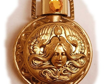 reserved for edna Perfume Art Nouveau Mucha Goddess jeweled Pendant necklace