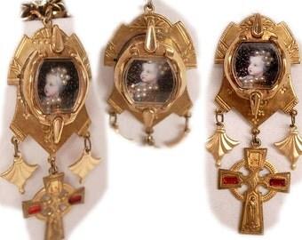 Miniature child Prince portrait  necklace renaissance medieval gothic chandelier Reliquary  rhinestone