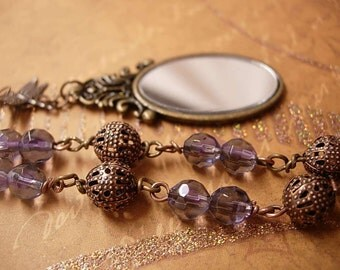 Victorian Mirror garden charm NEcklace dragonfly and purple faceted glass