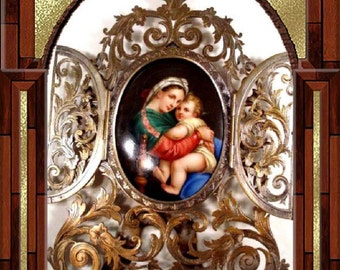 ANtique 19th century European ALTER  Portrait Porcelain Painting   and  Frame Mary and Jesus