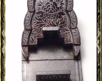 ANtique carved Chinese sarcophagus Miniature Coffin Grand TOUR ITEM RARE