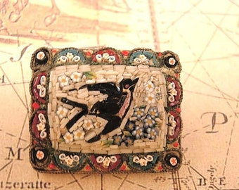 VIctorian BLack BIRD Raven Swallow  Micromosaic Antique Aesthetic glass brooch