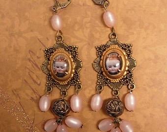 Rosary Earrings Religious Portrait under glass assemblage earrings