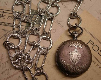 ANtique Sterling  POcketwatch victorian fancy necklace GORGEOUS case and it works too