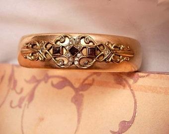 Antique Victorian ROse GOld Filled Amethyst jeweled bangle bracelet with paste rhinestones