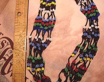 1920's deco Bohemian Florette Multi strand glass necklace hippie or flapper