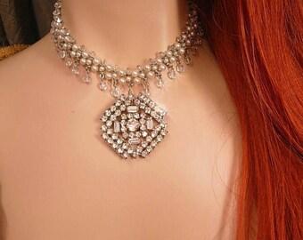 Medieval Renaissance wedding necklace Pearl choker with vintage rhinestone drop