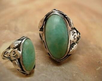 Sterling art nouveau turquoise fancy ring