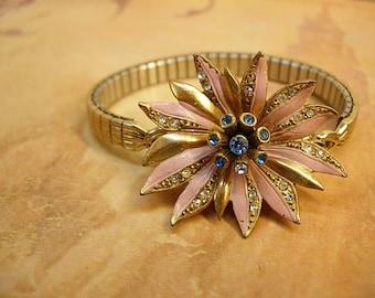 Vintage Enamel rhinestone flower bracelet PINK and fun