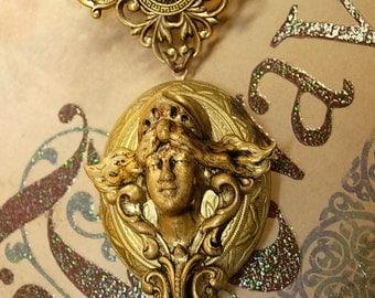 Medusa Locket necklace HUGE snake chain Winged Goddess Angel renaissance