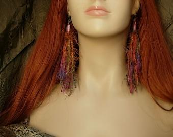 "Long Gypsy fringe earrings hippie feathery 6"" long with vintage czech Givre beads"