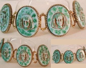 Vintage Egyptian bracelet Czech Glass Pharaoh head huge bookchain bracelet