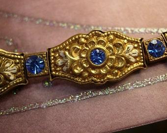 Vintage Czech bracelet Blue czech glass rhinestones ornate backings Deco enamel  bracelet