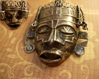 Vintage Shrunken HEad brooch Mask Ring Sterling signed Mask Voodoo set