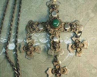 Antique Wedding Necklace maltese cross pendant signed sterling chrysoprase  gothic Lamb of GOd