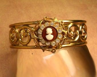 Vintage Cameo Cuff bracelet Rhinestones and fancy metal work