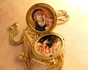 Edwardian locket Vintage jeweled religious Icon portraits and woven chain necklace assemblage gold jewelry