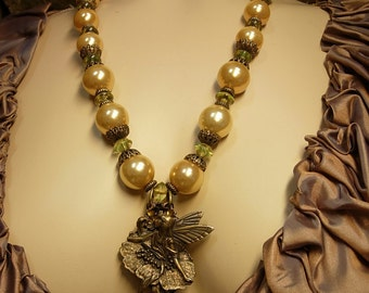 Mystical Nymph huge baroque pearl necklace winged fairy statement necklace