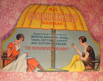Vintage Gold eyed Needlecase The housewives delight Paradise needlebook made in Germany