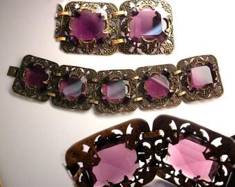 STUNNING Antique Amethyst Glass Victorian moon bracelet Wide ornate links