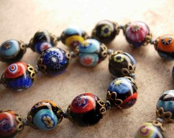 Vintage 1920s Millefiori Glass necklace Gorgeous colors