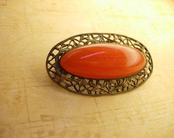 Antique Carnelian Filigree cabochon brooch