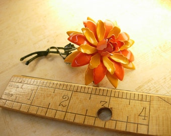 HUge Vintage Enamel Trembler Flower brooch