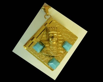 Secret hidden hinged pendant book box locket Egyptian turquoise glass necklace