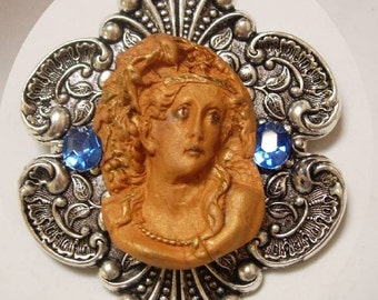 Gothic Cameo HUGE enamel and rhinestone Victorian setting Goddess Brooch