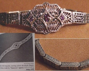 Art deco BOOKPIECE Amethyst FILIGREE sterling  Bracelet