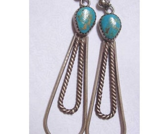 Vintage 40's sterling turquoise hand wrought artisan earrings