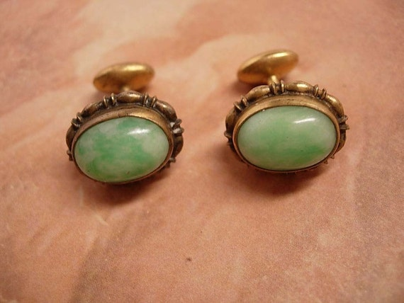 reserved for M ward  DO not BUY ANtique Jadite or Jade Fancy gold filled cufflinks