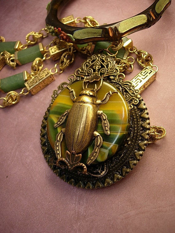 Reserved Stone Scarab NEcklace Chinese Beetle  Bizarre Asian talisman