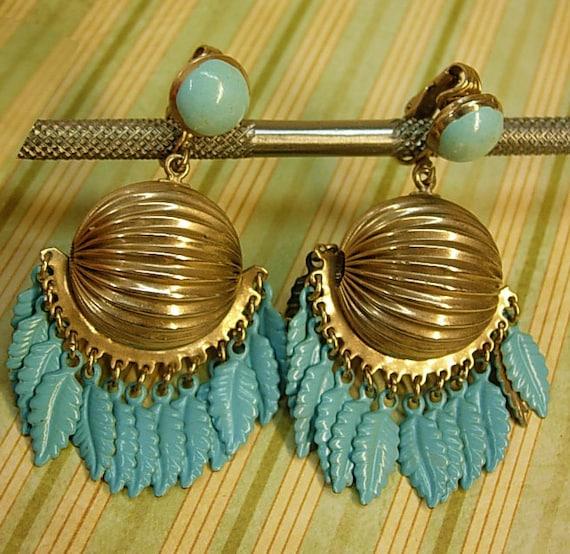Vintage Turquoise enamel earrings clip on dangle earrings gypsy style