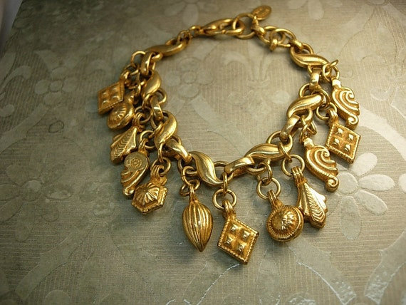 VIntage Nicky Butler charm bracelet Victorian charms signed bracelet