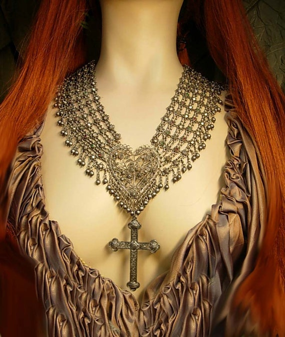 ANtique Medieval NEcklace Sacred heart Gothic cross jeweled collar HUGE statement necklace