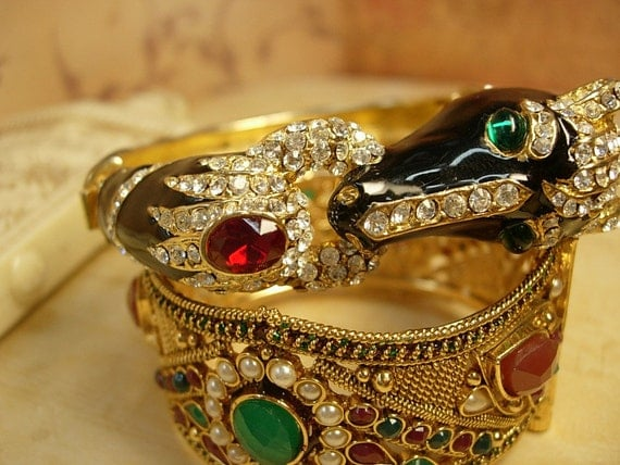 reserved for Jul Vintage Jeweled Horse head bracelet loaded with stones