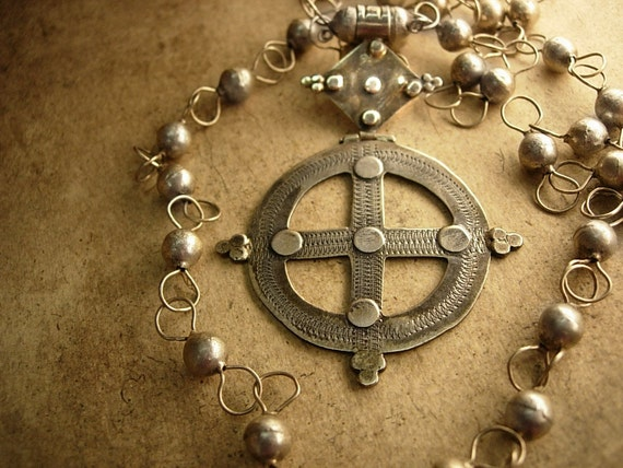 Reserved RL Antique Sterling  Medieval Ethiopian Cross necklace Hallmarked Queen of Sheba Gothic trefoil clover cross