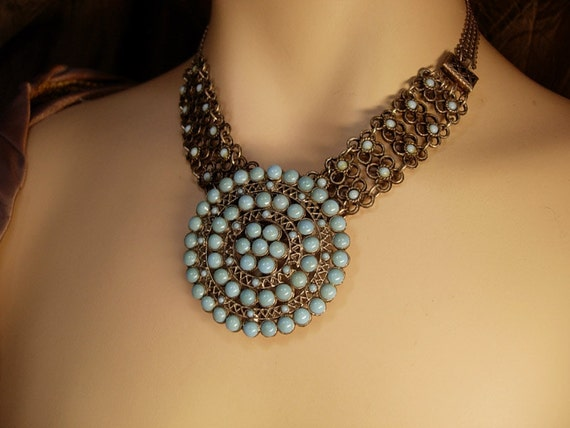 Vintage Edwardian turquoise necklace and brooch Goth choker