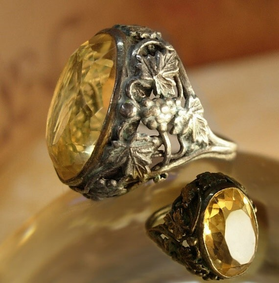 Reserved for TEI Huge Antique Art Nouveau sterling Citrine ring Ornate relief on all sides
